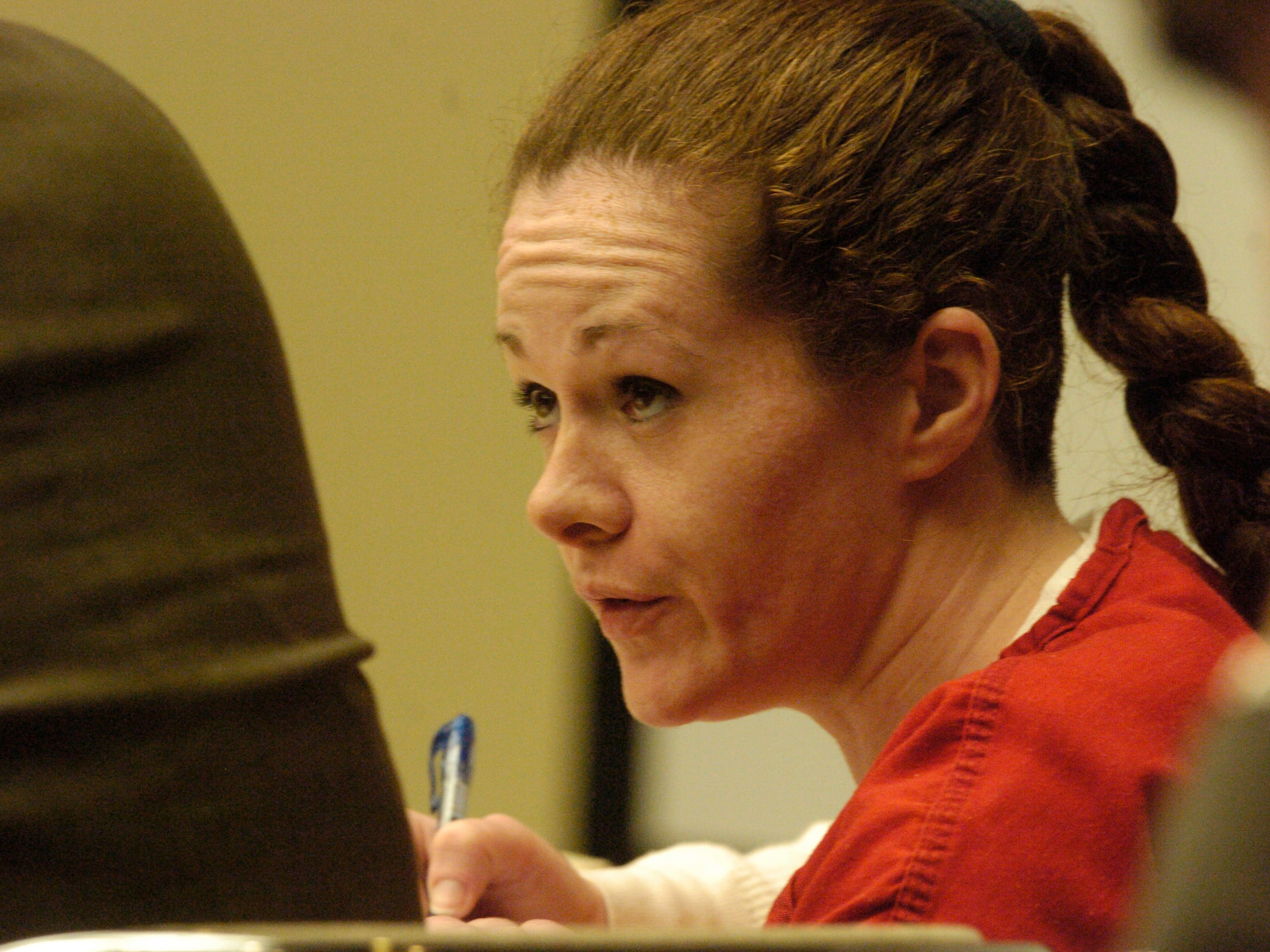 Convicted killer Christa Gail Pike listens to proceedings on April 2008 in Knox County Criminal Court in a bid for a new trial in the 1995 killing of fellow Job Corps student Colleen Slemmer.