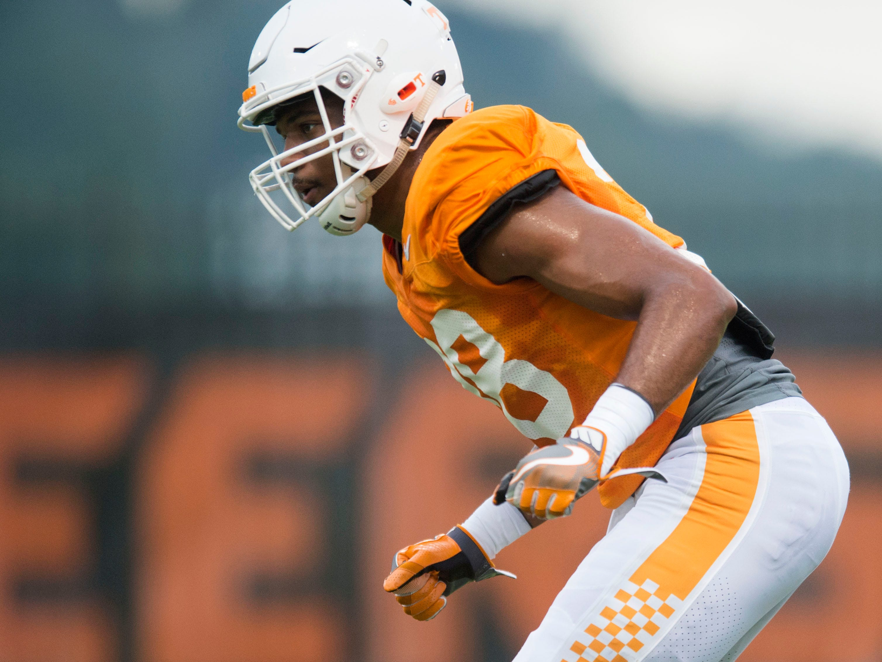 Tennessee linebacker Solon Page III during football practice at Haslam Field on Thursday, August 9, 2018.
