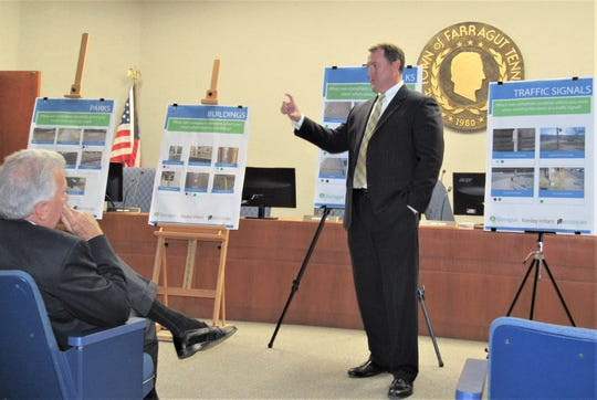 Mayor Ron Pinchok Listens As Town Administrator David Smoak Reviews The Results Of A Recent ADA