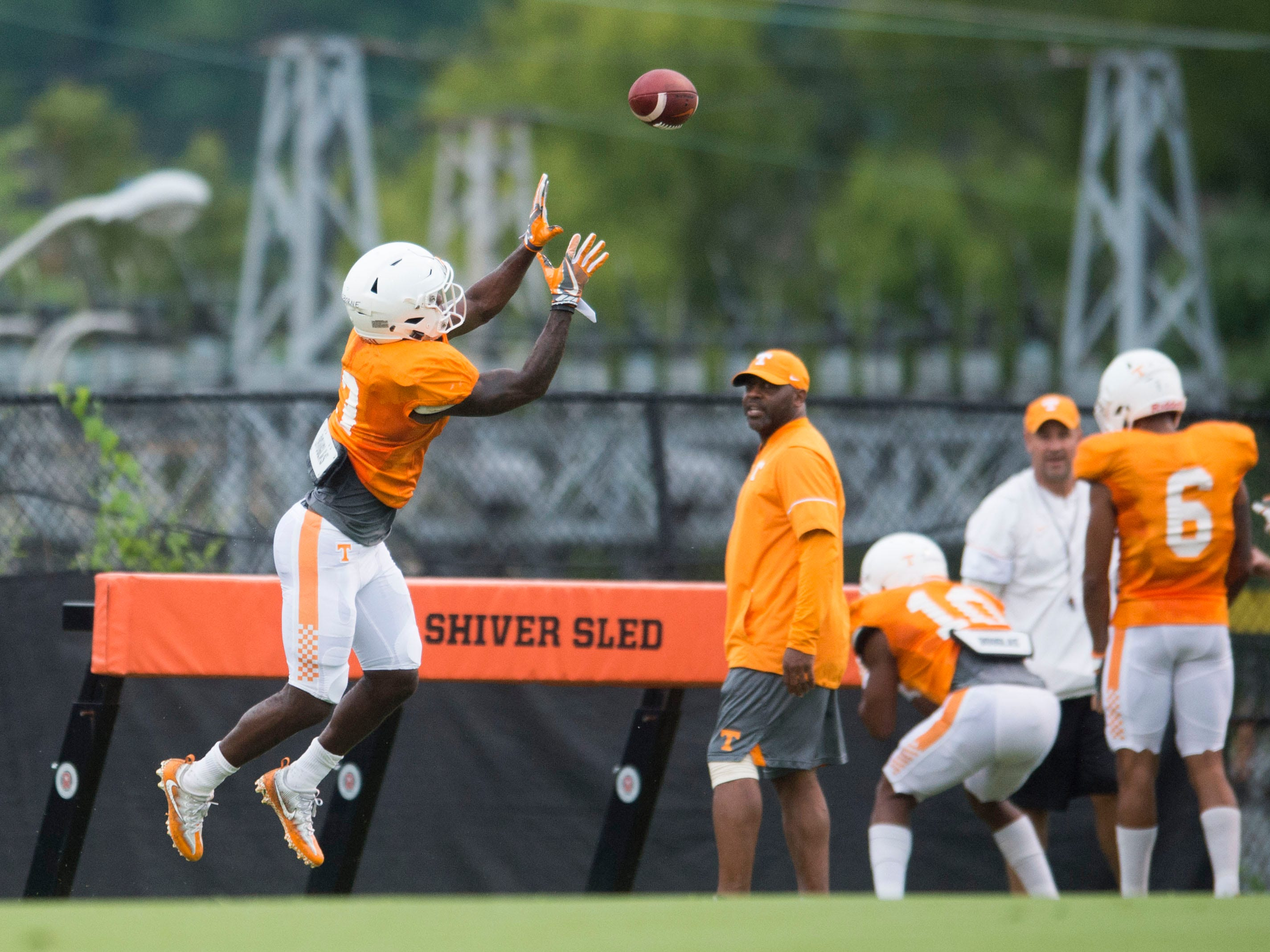Tennessee defensive back Marquill Osborne drills at football practice on Thursday, August 9, 2018.
