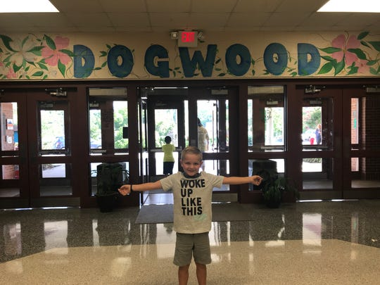 "Griffin walked in to the school and said """"This is where the magic happens!"" August 2018"