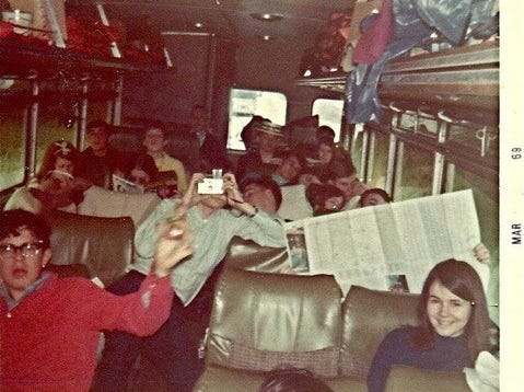 South High Band traveling to New Orleans for Mardi Gras parade in 1969.