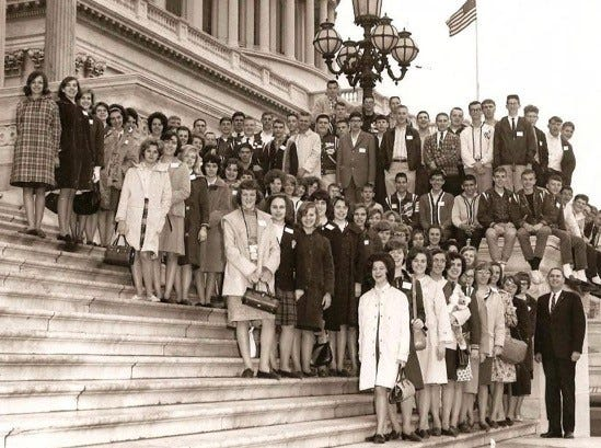 The South High School band on a 1965 trip to Cherry Blossom Festival. Group shot with Representative John Duncan Sr.