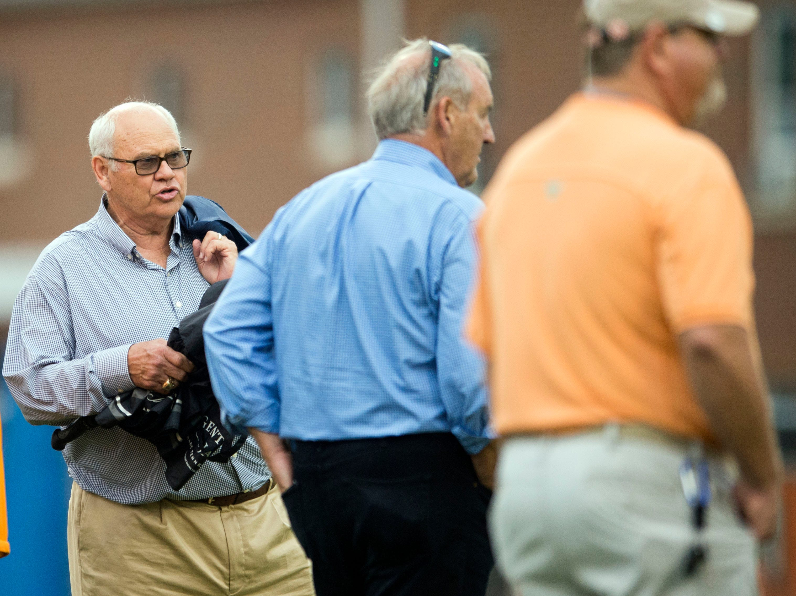 Tennessee athletic director Phillip Fulmer attending football practice at Haslam Field on Thursday, August 9, 2018.