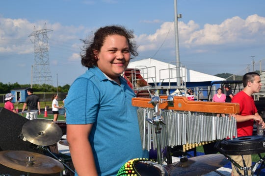 Gabe Dalton, 15, prepares to play a variety of percussion instruments at Karns High School's 2018 band camp on Thursday, July 26.