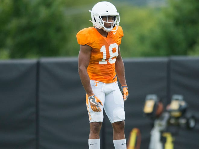 Tennessee defensive back Nigel Warrior during football practice at Haslam Field on Thursday, August 9, 2018.