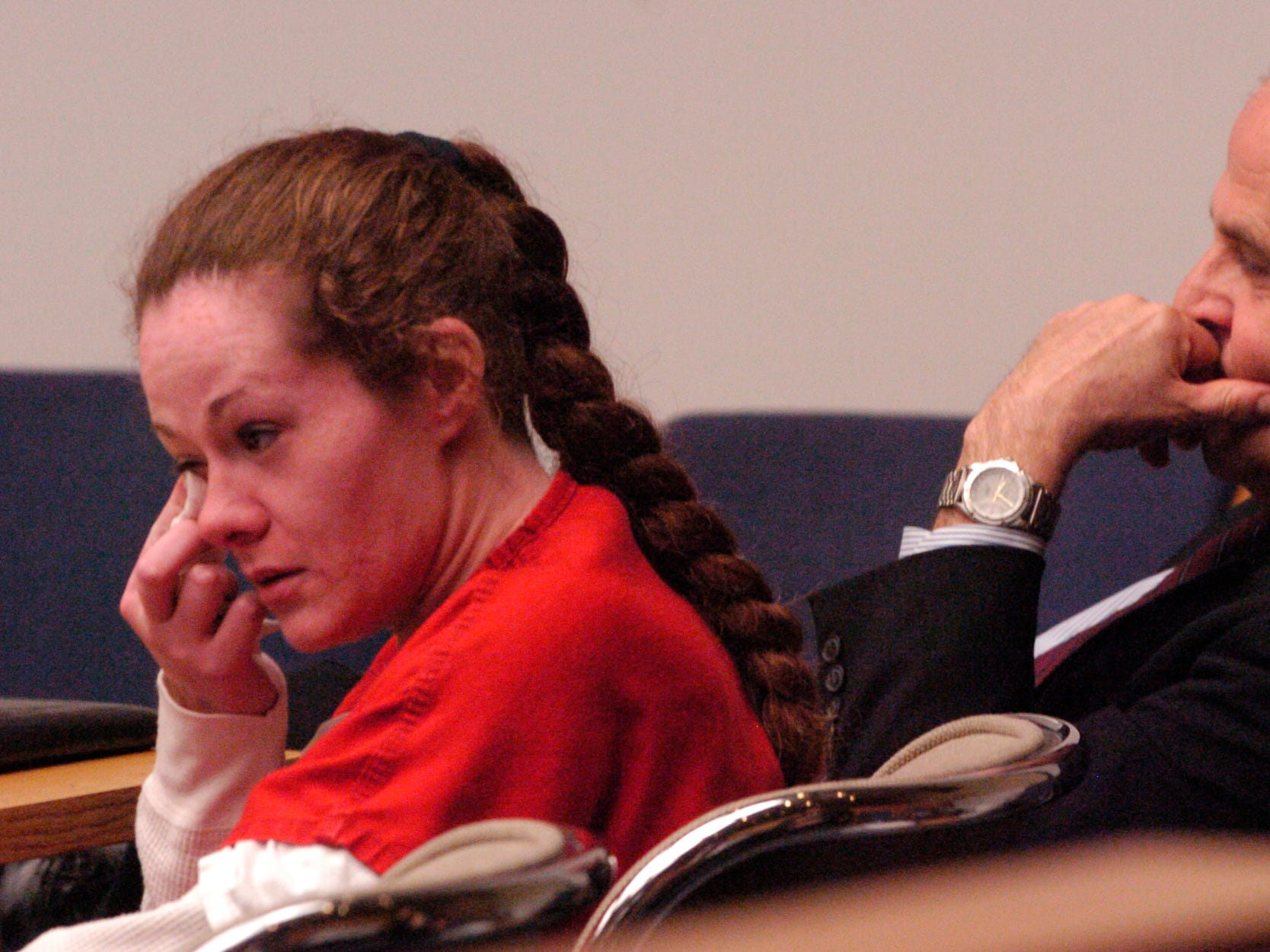Christa Gail Pike broke down in tears on April 10, 2008 as she listened to herself confess to killing Colleen Slemmer in 1995. Pike's lawyers played the tape of her confession to Knoxville Police Department Investigator Randy York claiming she was going through mood swings and a distraught emotional state at the time.