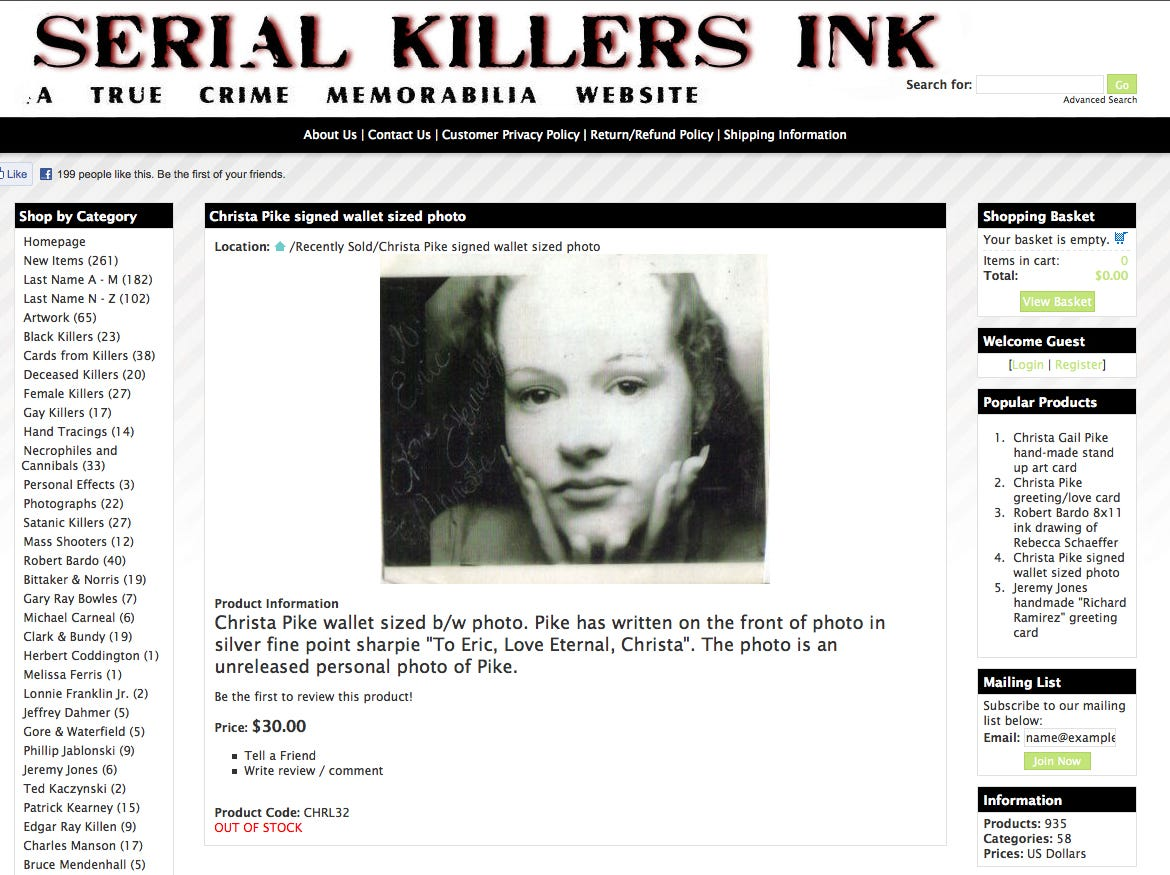 The website Serial Killers Ink sells materials provided by those who are incarcerated. Christa Gail Pike, who was sentenced to death for the 1995 torture slaying of Colleen Slemmer, a fellow Knoxville Job Corps student, has 10 items for sale on the website.