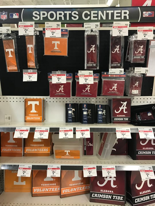 A photo of Alabama gear next to Tennessee gear at a Knoxville Office Depot, Tuesday, Aug. 7,2018.
