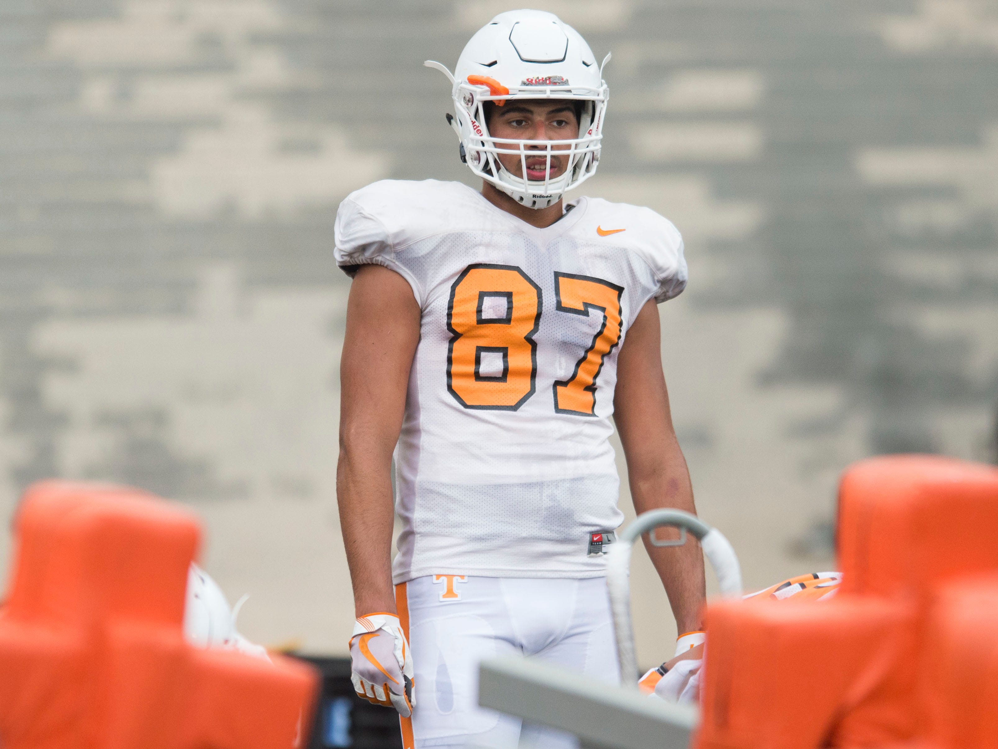 Tennessee tight end Jacob Warren during football practice at Haslam Field on Thursday, August 9, 2018.