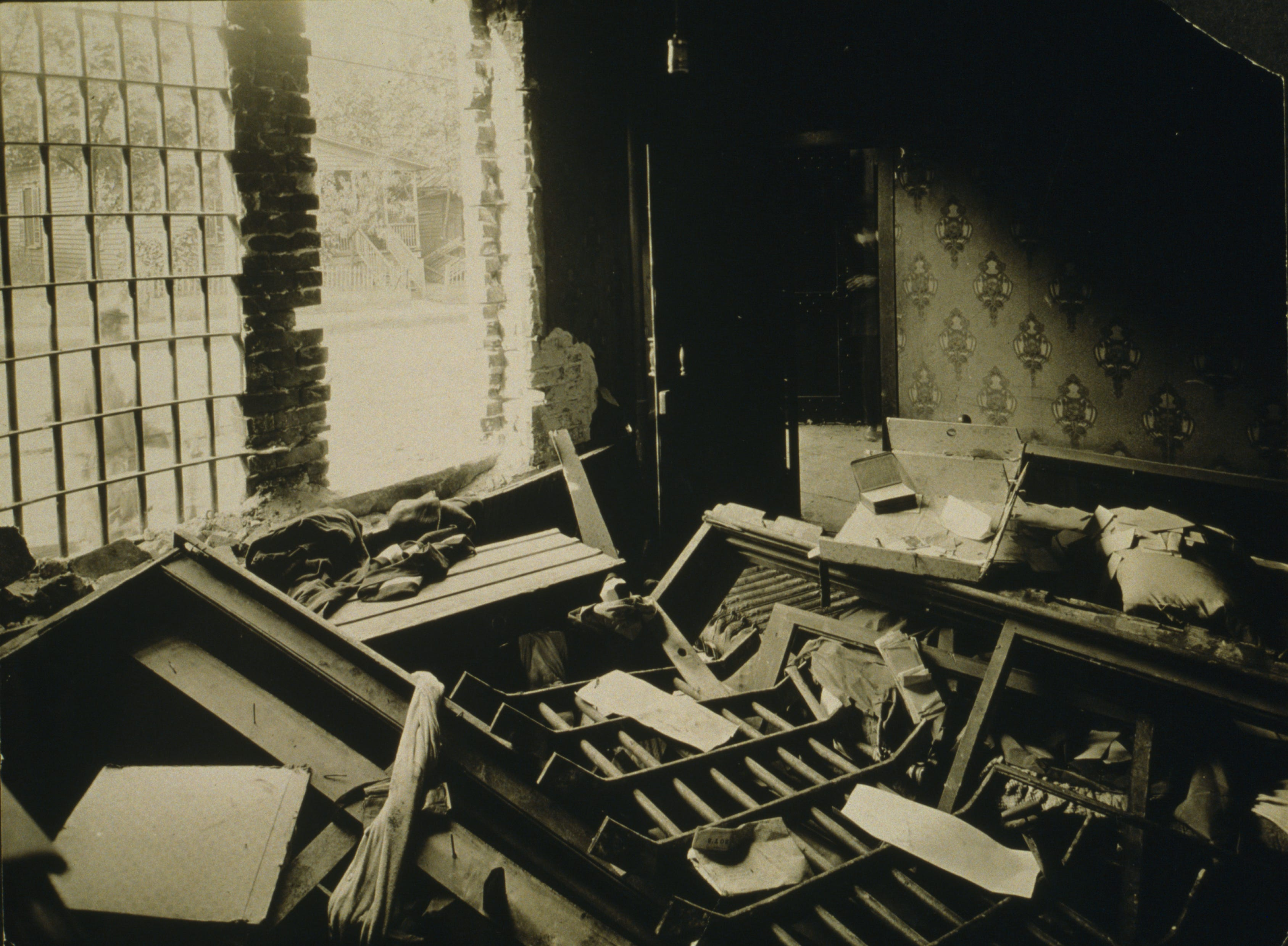 Interior of jailer's room after Maurice Mays' lynching.