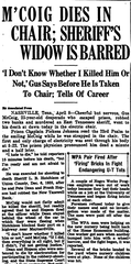 Clip from the Knoxville News Sentinel on April 8, 1937 on the execution of Gus McCoig.