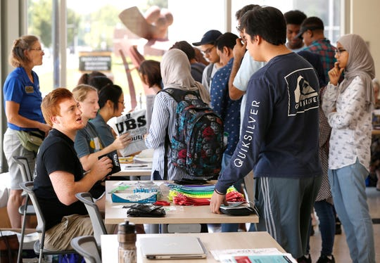 International students taking part in Boiler Gold Rush check in at the Krach Leadership Center Friday, August 10, 2018, on the campus of Purdue University.