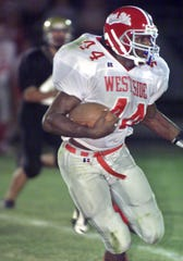 West Lafayette's Cortlan Booker during his 295-yard rushing effort at Delphi on September 6, 2002.