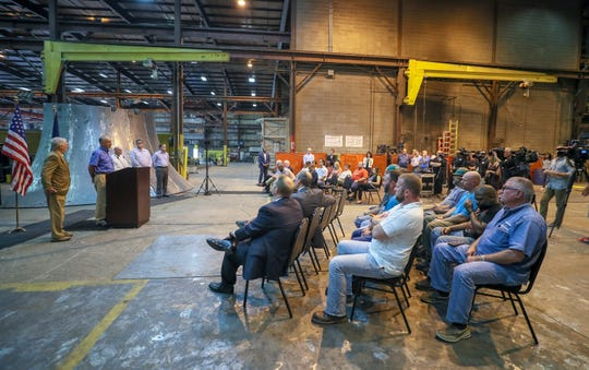 Workers at Caldwell Tanks gathered to listen to Senate Majority Leader Mitch McConnell speak about the current tax plan.