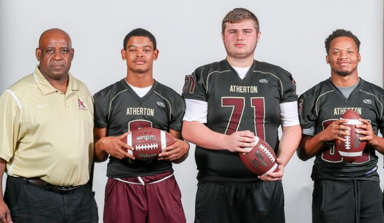 Atherton LEFT TO RIGHT: head coach, Kenneth Walker, I'Derian Coleman, Cooper Steinemann, senior, guard, Josiah Price, senior, running back/corner back.