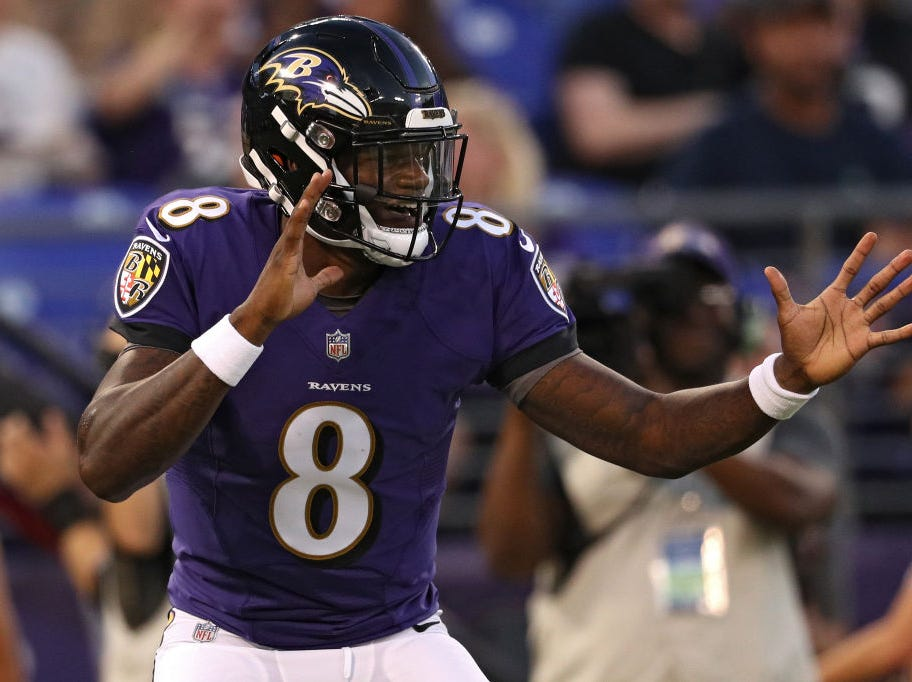 BALTIMORE, MD - AUGUST 09: Lamar Jackson #8 of the Baltimore Ravens celebrates after scoring a touchdown during the first quarter against the Los Angeles Rams during a preseason game at M&T Bank Stadium on August 9, 2018 in Baltimore, Maryland. (Photo by Patrick Smith/Getty Images)