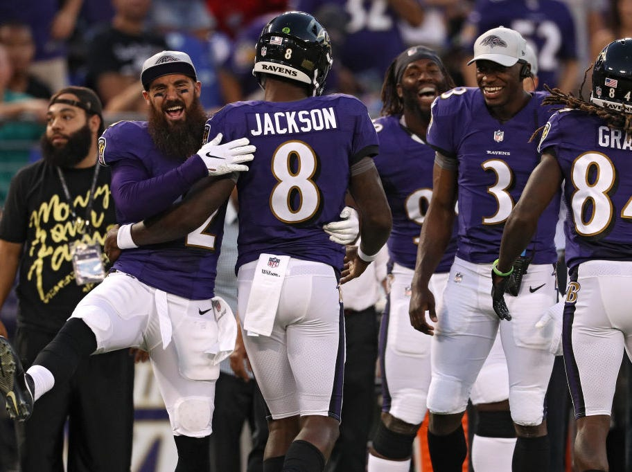 BALTIMORE, MD - AUGUST 09: Lamar Jackson #8 of the Baltimore Ravens celebrates with teammates after scoring a touchdown during the first quarter against the Los Angeles Rams during a preseason game at M&T Bank Stadium on August 9, 2018 in Baltimore, Maryland. (Photo by Patrick Smith/Getty Images)
