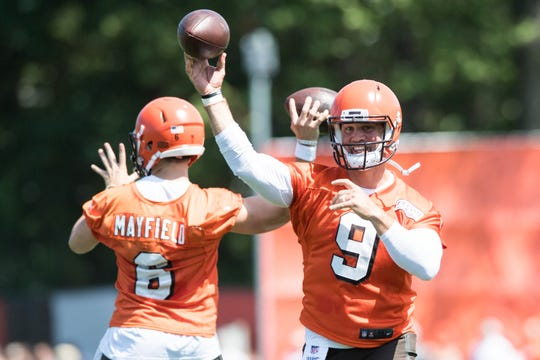 Cleveland Browns quarterback Baker Mayfield (6) and quarterback Drew Stanton (9) during training camp at the Cleveland Browns Training Complex.