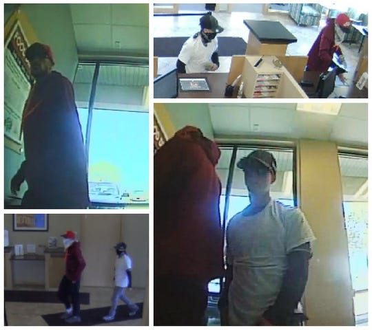 Suspects of a Lansing Township robbery are shown. Police are searching for two men accused of stealing about $6,000 in cash from a credit union Friday.