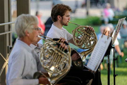 The Two Rivers Community Band plays their final concert of the season at Central Park Thursday, August 9, 2018, in Two Rivers, Wis. Josh Clark/USA TODAY NETWORK-Wisconsin