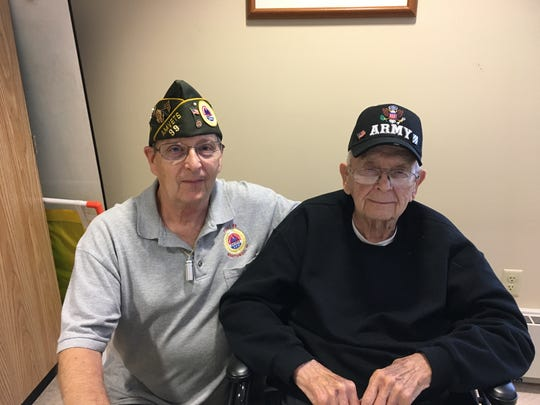 AMVETS Post 99 and Auxiliary visited several nursing homes throughout Manitowoc County this summer. The socials were to honor veterans with gifts and ice cream. Pictured is David Soukup with his dad, Milton, at Rivers Bend Health and Rehab. Milton served in the United States Army in 1948 and 1949 and David served in Army National Guard from 1972 to 1977. Both are members of AMVETS Post 99.
