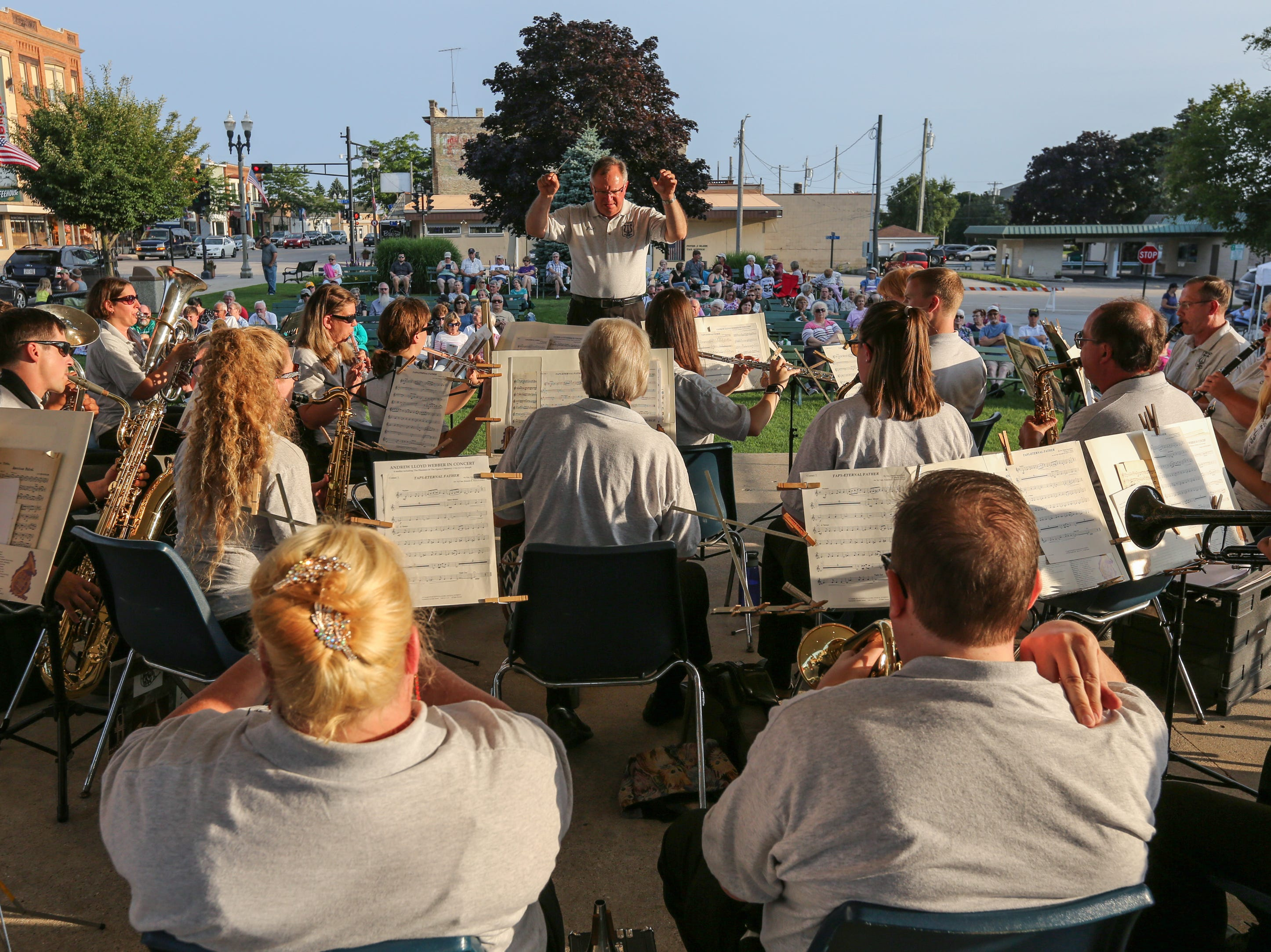 Philip Stangel directs the Two Rivers Community Band in their final concert of the season at Central Park Thursday, August 9, 2018, in Two Rivers, Wis. Josh Clark/USA TODAY NETWORK-Wisconsin