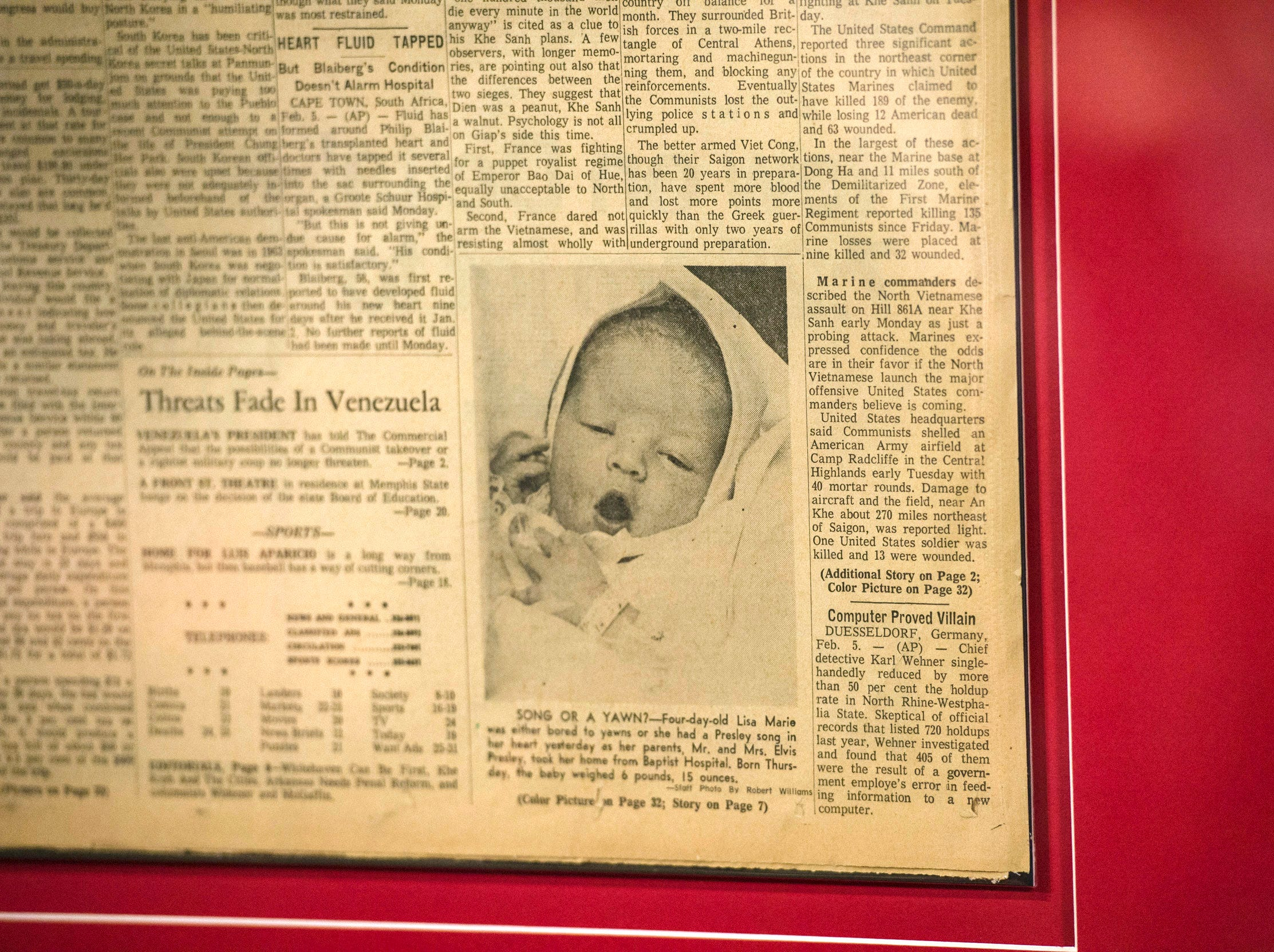 "August 10, 2018 - A 1968 issue of the Commercial Appeal featuring a photo of four-day-old Lisa Marie Presley is on dislpay during a private ribbon-cutting event for the new exhibit ""Lisa Marie: Growing Up Presley"" at Elvis Presley's Memphis entertainment complex."