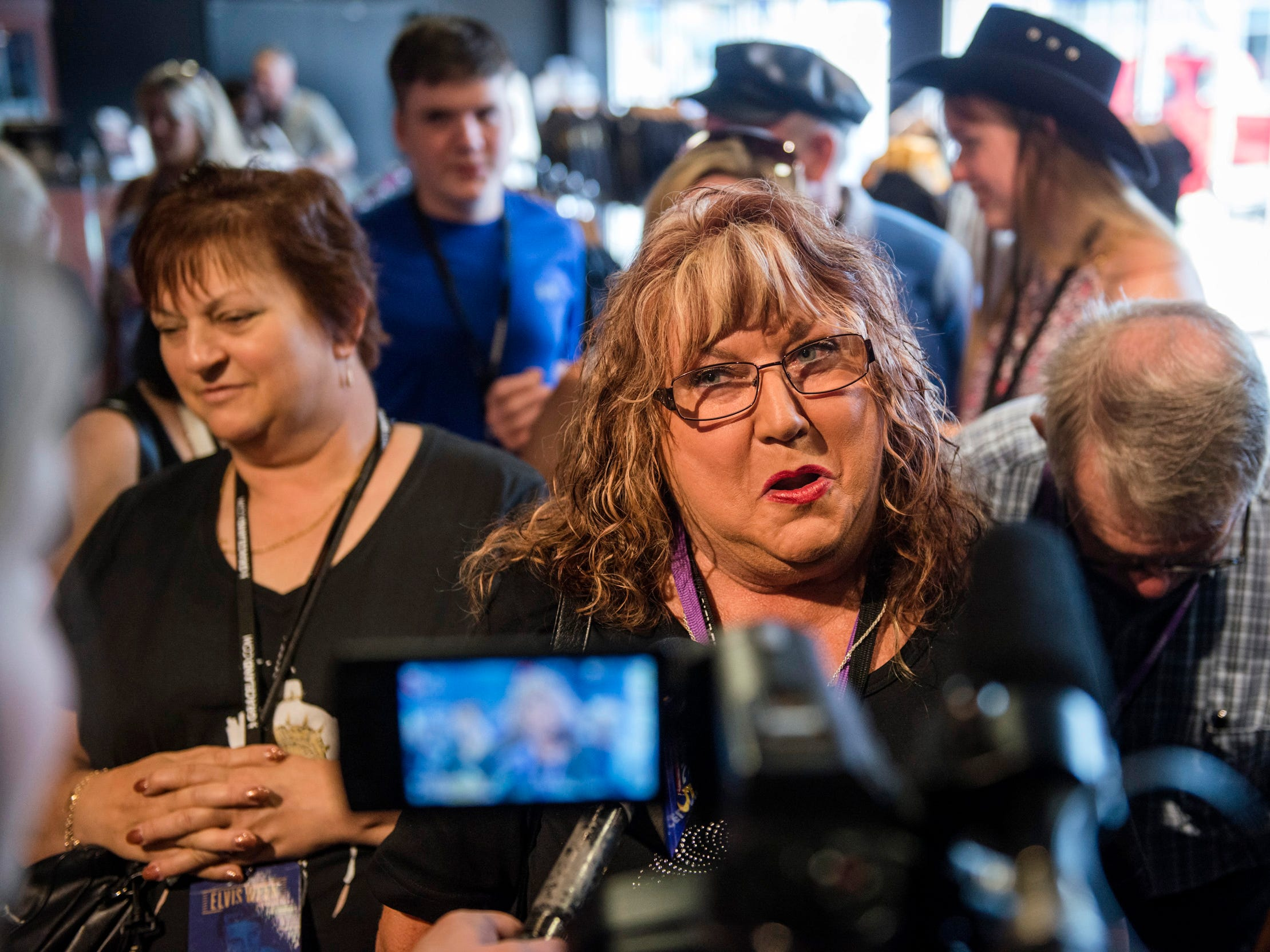 "August 10, 2018 - Canton, Texas resident Janice Peel speaks with reporters during a private ribbon-cutting event for the new exhibit ""Lisa Marie: Growing Up Presley"" at Elvis Presley's Memphis entertainment complex."