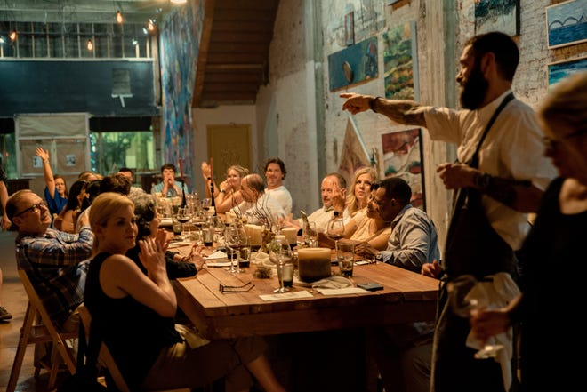 Chef David Krog explains his menu at a recent Taste of Gallery pop-up event.