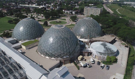 The Mitchell Park Domes are seen from a drone in August.