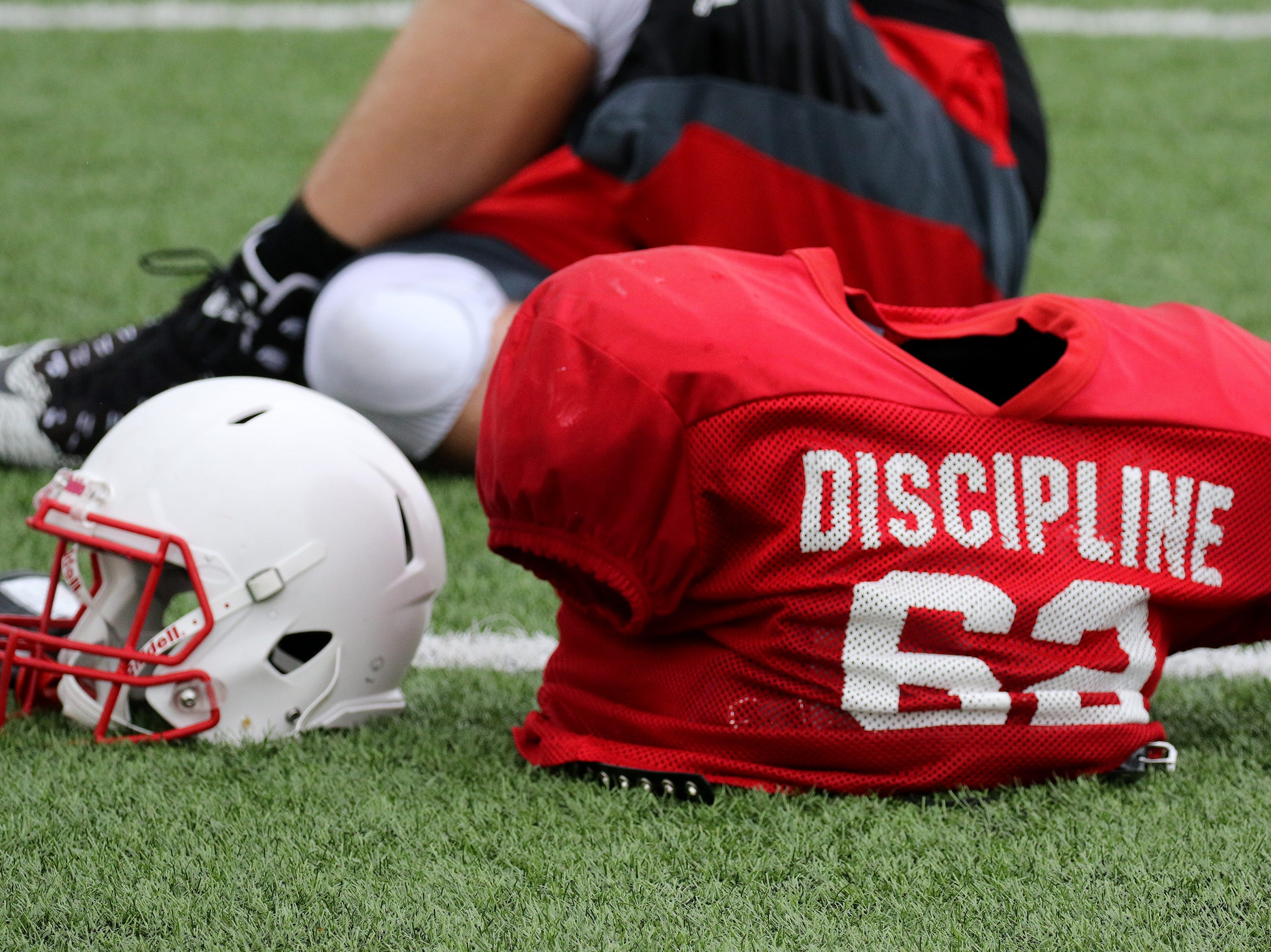 Pride and Discipline are two theme word for the Homestead football team, as seen on practice uniforms on Aug. 9.