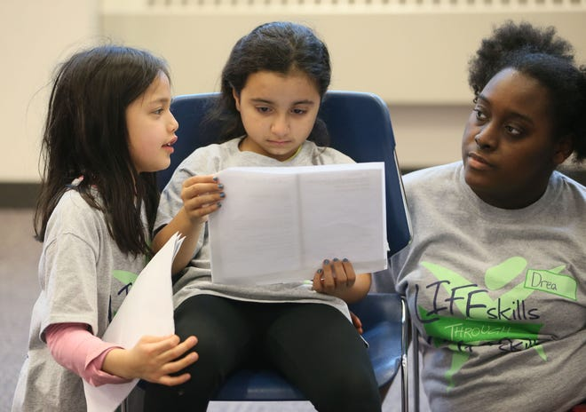 Anna Fennelly (from left),  8, Isabella Alvarado, 9, and intern Drea McAlister work on a scene in a theater program at the Milwaukee Youth Arts Center.