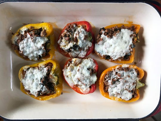 Stuffed peppers can be made and baked right away or frozen for serving later in the week.