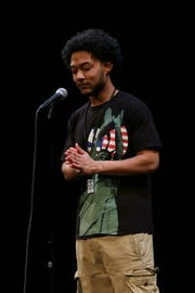 Juan Bernal performs at the Still Waters Collective 2015 slam finals for a place on the state Brave New Voices team at the Marcus Center for the Performing Arts.