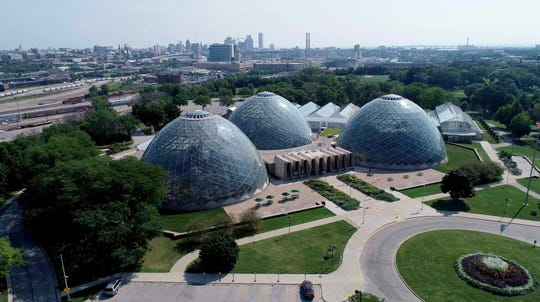 The Mitchell Park Domes, seen in a photo from a drone, will host a family New Year's Eve event.