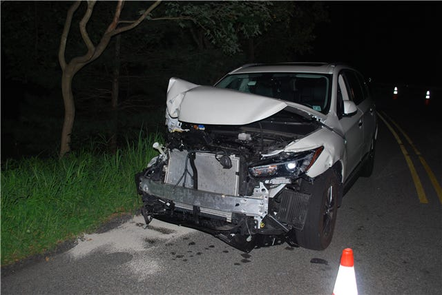 The driver of this Infiniti SUV was involved in two crashes within about a quarter-mile on Hilltop Road in Mendham before police pulled her over and charged her with DWI, according to a police report.