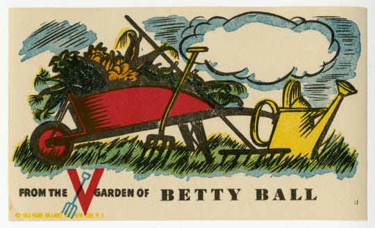 A paper label for jars of canned food from Elisabeth Ball's World War II Victory Garden.