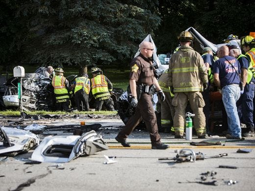 Authorities at the scene of a deadly crash on Ind. 67 east of Daleville Thursday that resulted in the deaths of Muncie and Pendleton residents.