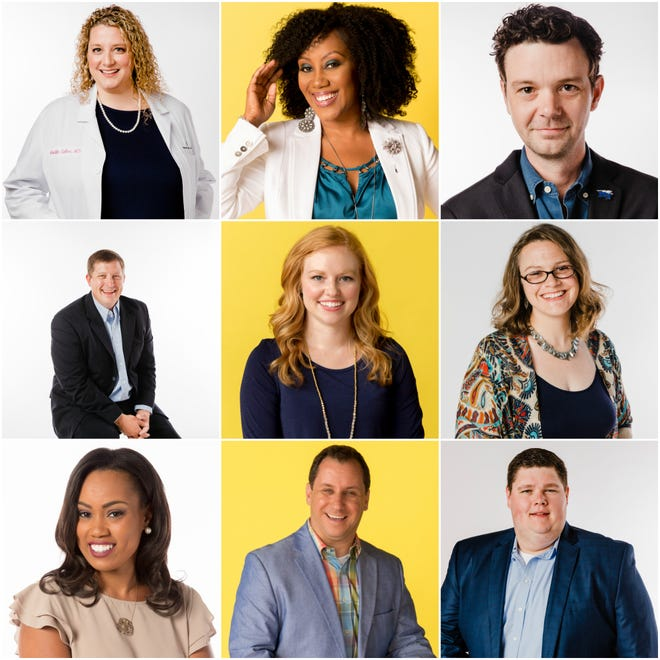 Members of the 2018 Class of 20 Young Professionals Under 40 include: top row, from left: Dr. Kristin Salter, I'Ashea Myles-Dihigo and Rob Janson; 2nd row from left Fletcher Holland, Rachel Braziel, Autumn Shultz; 3rd row from left, Robin Seay, Matthew Smitty and Chase Hayes