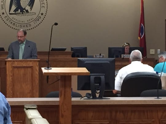 Wilson County Finance Director Aaron Maynard addresses commissioners at a work session for a proposed new high school in Mt. Juliet in July.