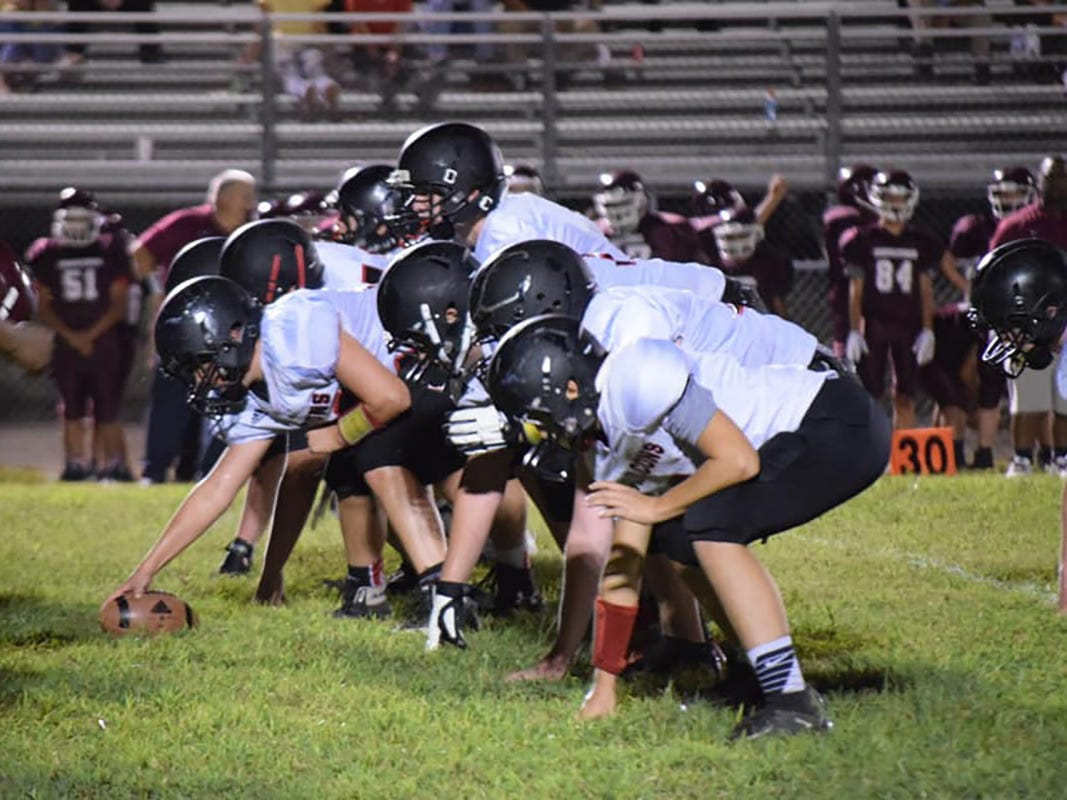 The Fairview Middle School Falcons on the line during a recent scrimmage.