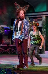 "Sam Douglas, left, as Bottom and Denice Hicks as Puck in ""A Midsummer Night's Dream."""