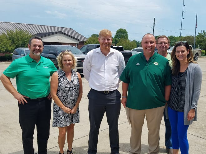 Gallatin Rotary Club members thanked Coach Mark William's for his excellent talk. (L-R) Andrew Finney, Jill Taylor, Chris Johnson, Coach Mark Williams, Bill Draper, and Marilee Thompson.