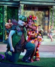 "Geoff Davin as Oberon and Tamiko Robinson Steele as Titania in ""A Midsummer Night's Dream."""