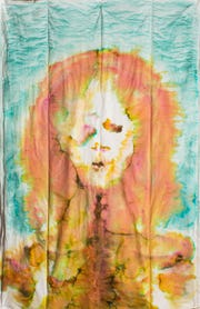 """Janet Decker Yanez, """"Seen Better Days,"""" 2014, food coloring on packing pads, 4'x6'."""