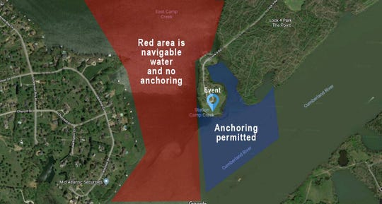 This map shows where boats are and are not allowed to view the Fire on the Water Festival Aug. 18 at Lock 4 Park in Gallatin.