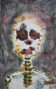 """Janet Decker Yanez, """"Look Into My Eyes,"""" 2015, food coloring on packing pads, 4'x6'."""