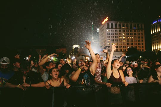 The crowd danced in the rain to Dispatch at Live On the Green on Thursday, August 9, 2018.