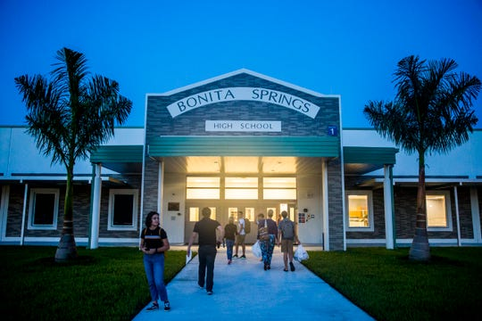 Students and faculty arrive for the first day of classes at Bonita Springs High School on Friday, Aug. 10, 2018.